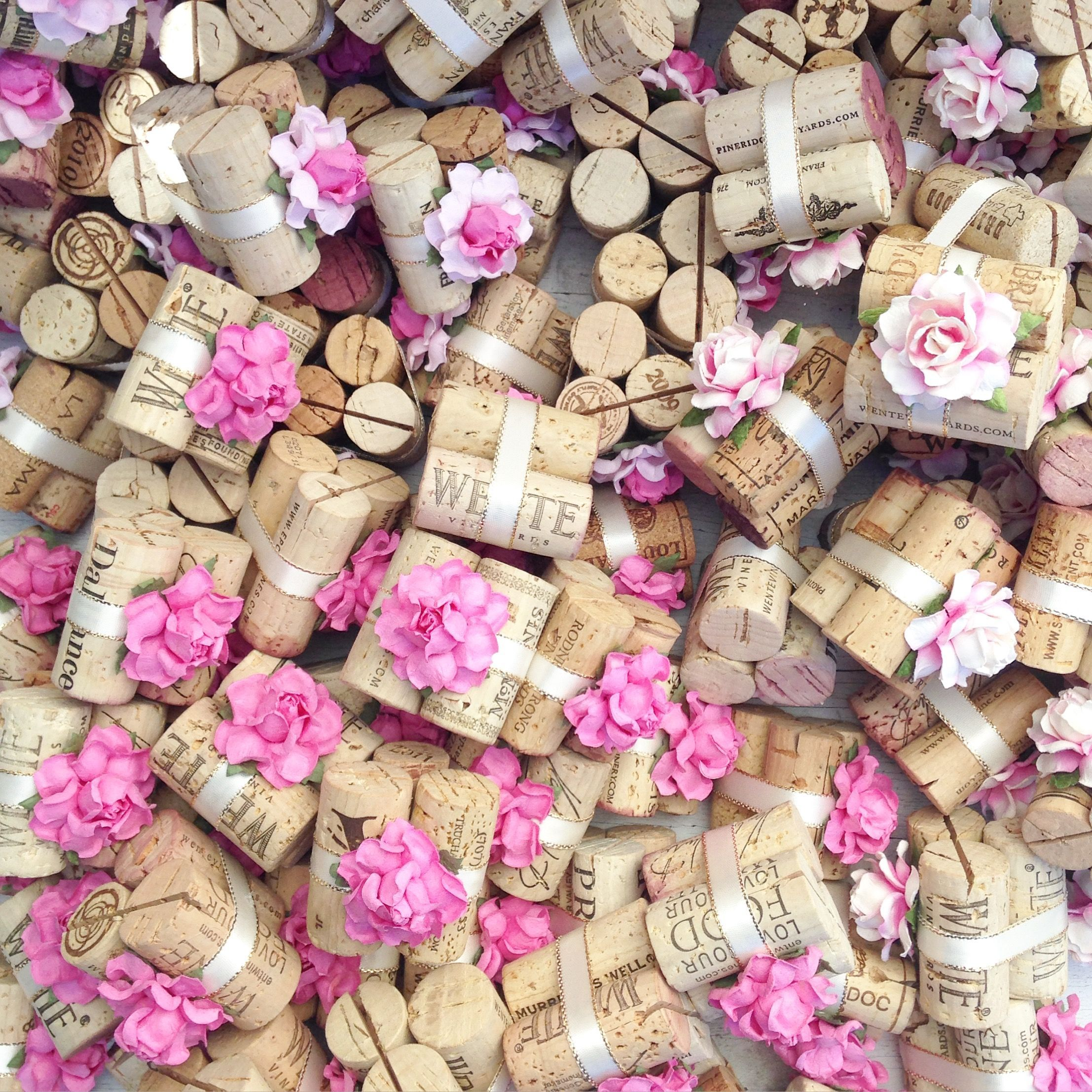 Party 25 Handmade Champagne Cork Place Card Holders for Wedding Wine Event