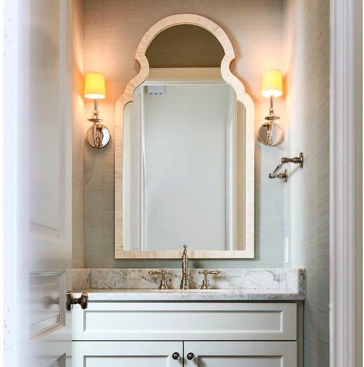 Mirror Design For Bathroom Delectable This Lovely Powder Room Featuring Our Moorish Bone Mirror Has Us 2018