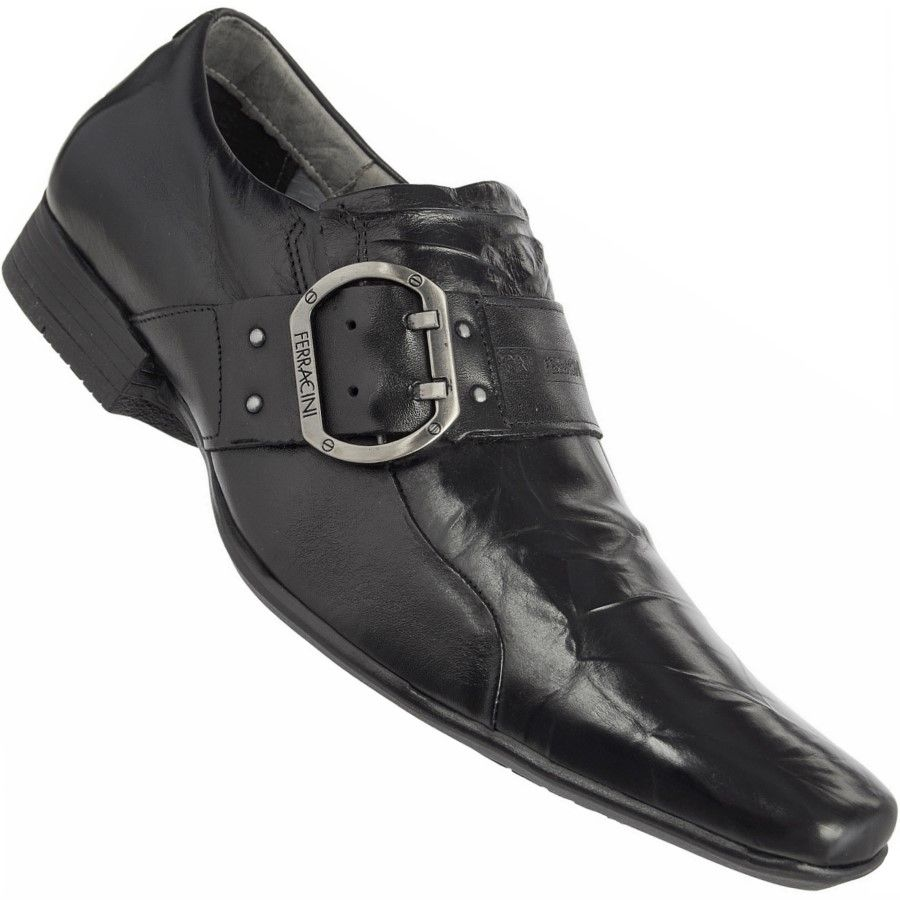 7bc31ac2d8 Sapato Ferracini Prince Capri Social S  Cadarço Masculino Preto ...