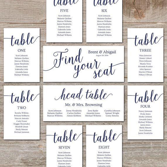 Navy Seating Chart Template  Wedding Seating Chart Cards Editable