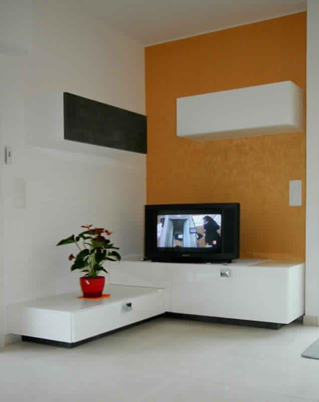 Magnifique Meuble Tv D Angle Suspendu Décoration Française - Meuble tv blanc laque pas cher pour idees de deco de cuisine