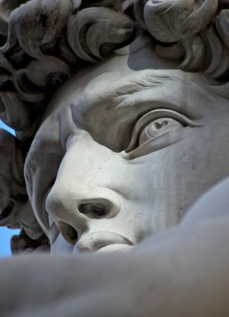 Detail of the head of David by Michelangelo (1501-1504) _