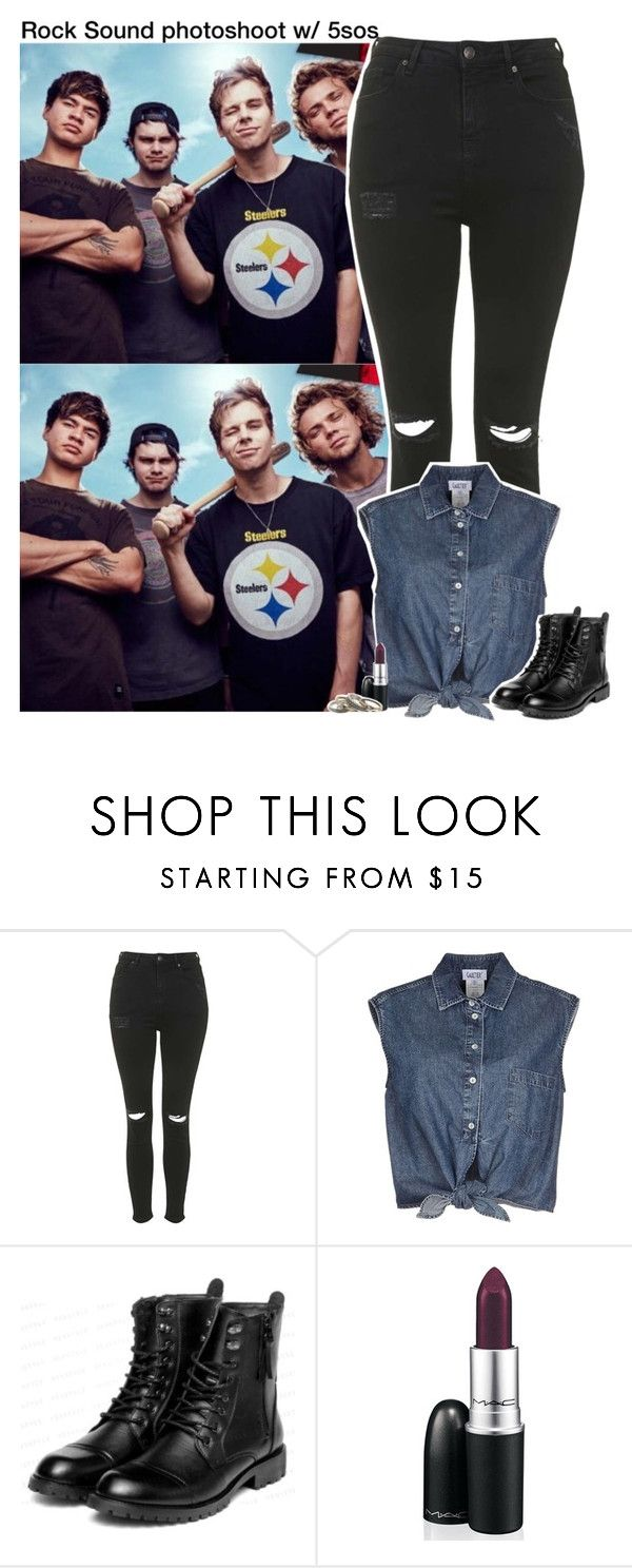 """""""Rock Sound photoshoot w/ 5sos"""" by aileen2704 ❤ liked on Polyvore featuring Topshop, Jean-Paul Gaultier, yeswalker, MAC Cosmetics, With Love From CA, 5sos, 5secondsofsummer and 5sosoutfits"""