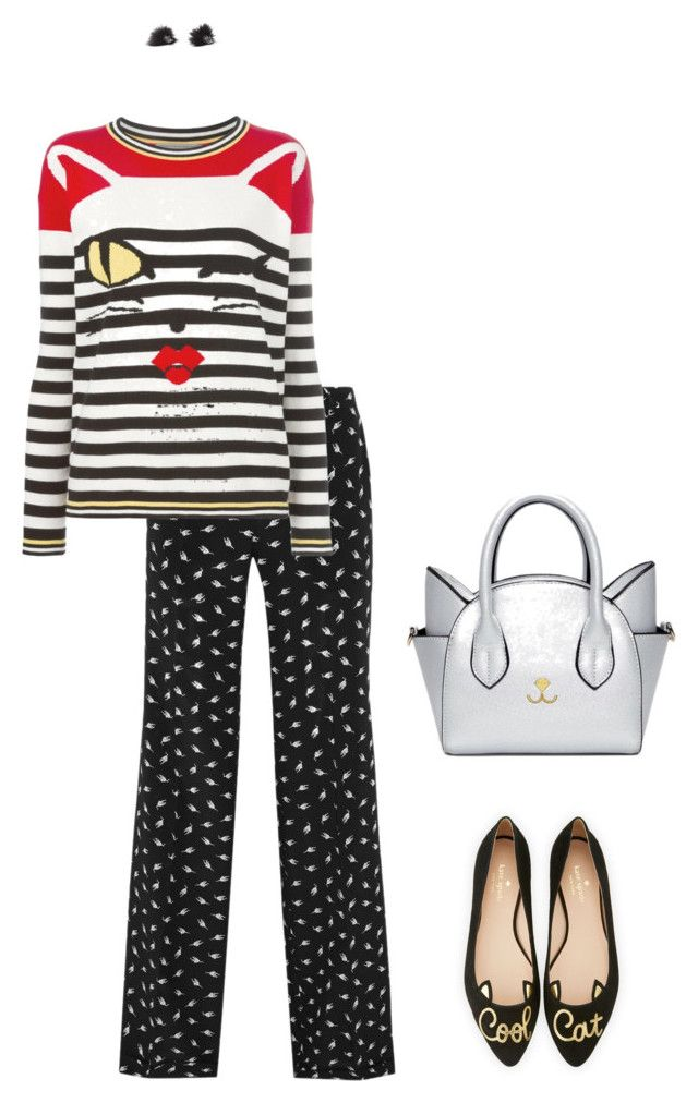 """Meeeoooow!"" by abmcgrath ❤ liked on Polyvore featuring Miu Miu, Kate Spade, Ermanno Scervino, cats, catlady and matchingshoesandbag"