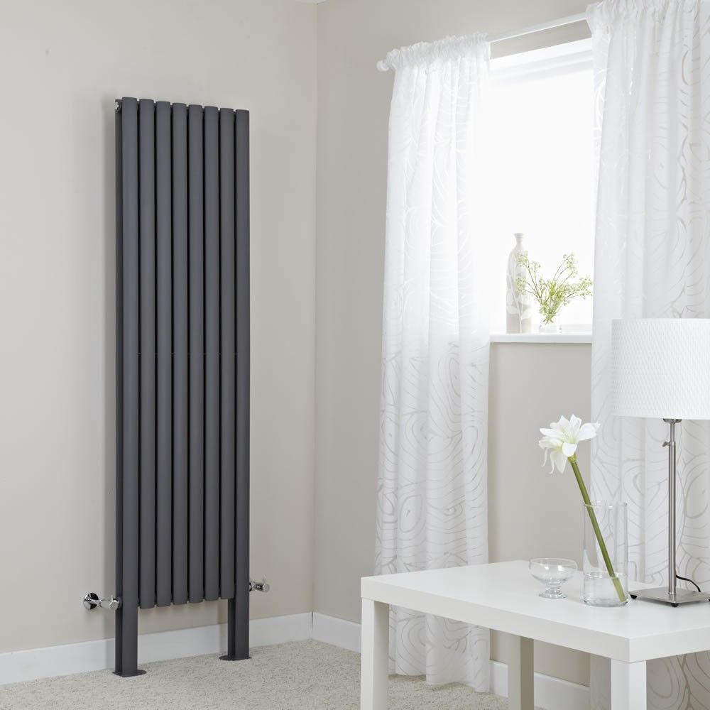 Milano Aruba Plus Anthracite Vertical Designer Radiator With Feet 1800mm X 472mm Double Panel