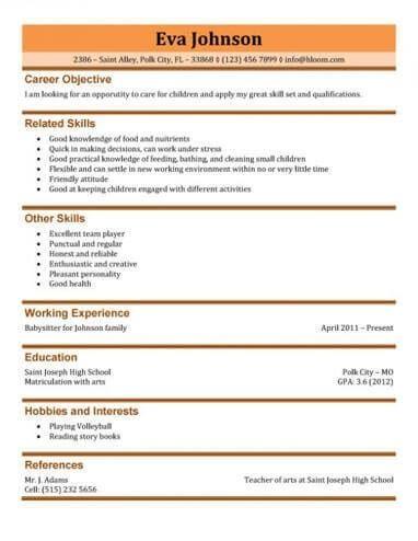 babysitting resume templates 28 images resume sle template