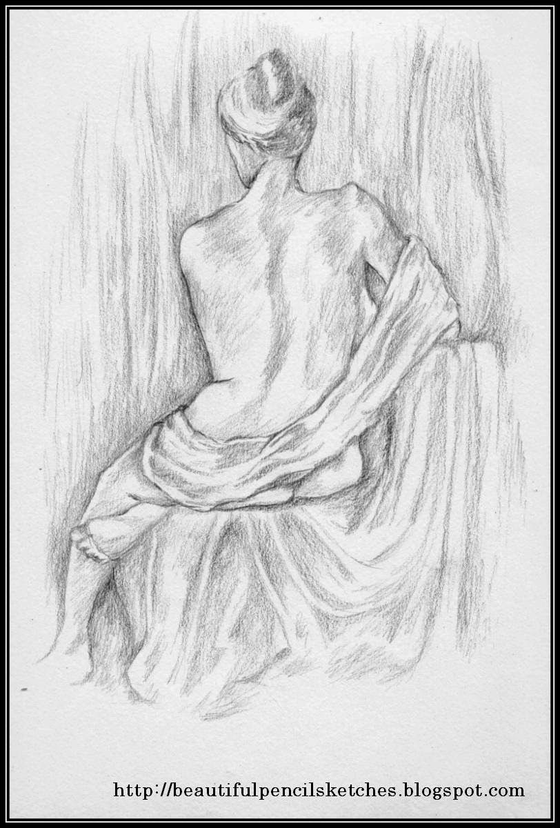 Beautiful pencil sketches pencil sketch of beautiful girl sitting from back