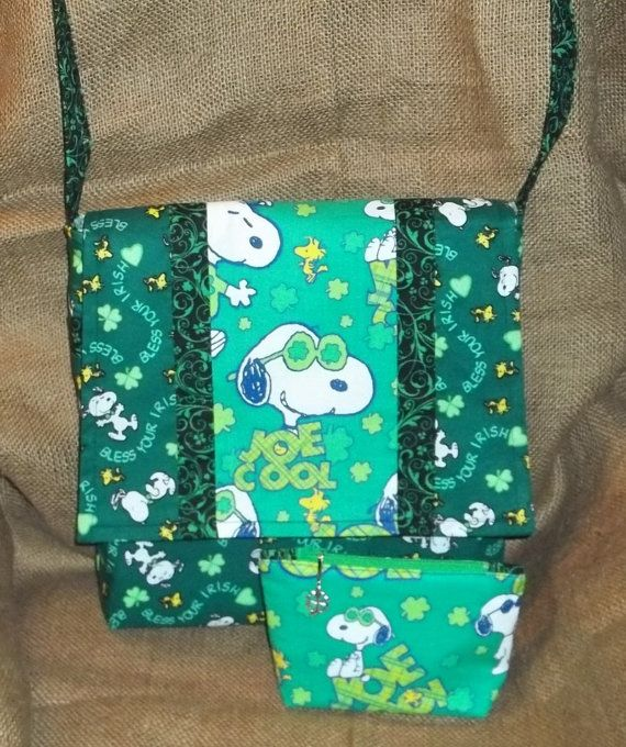 St. Patrick's Day Snoopy Purse by dixiebludesigns on Etsy