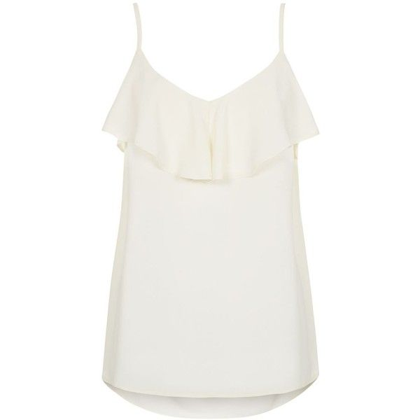 Cream Strappy Ruffle Layered Cami (19 BRL) ❤ liked on Polyvore featuring intimates, camis, tops, cream cami, cream camisole, slimming camisole, slimming cami and strappy cami