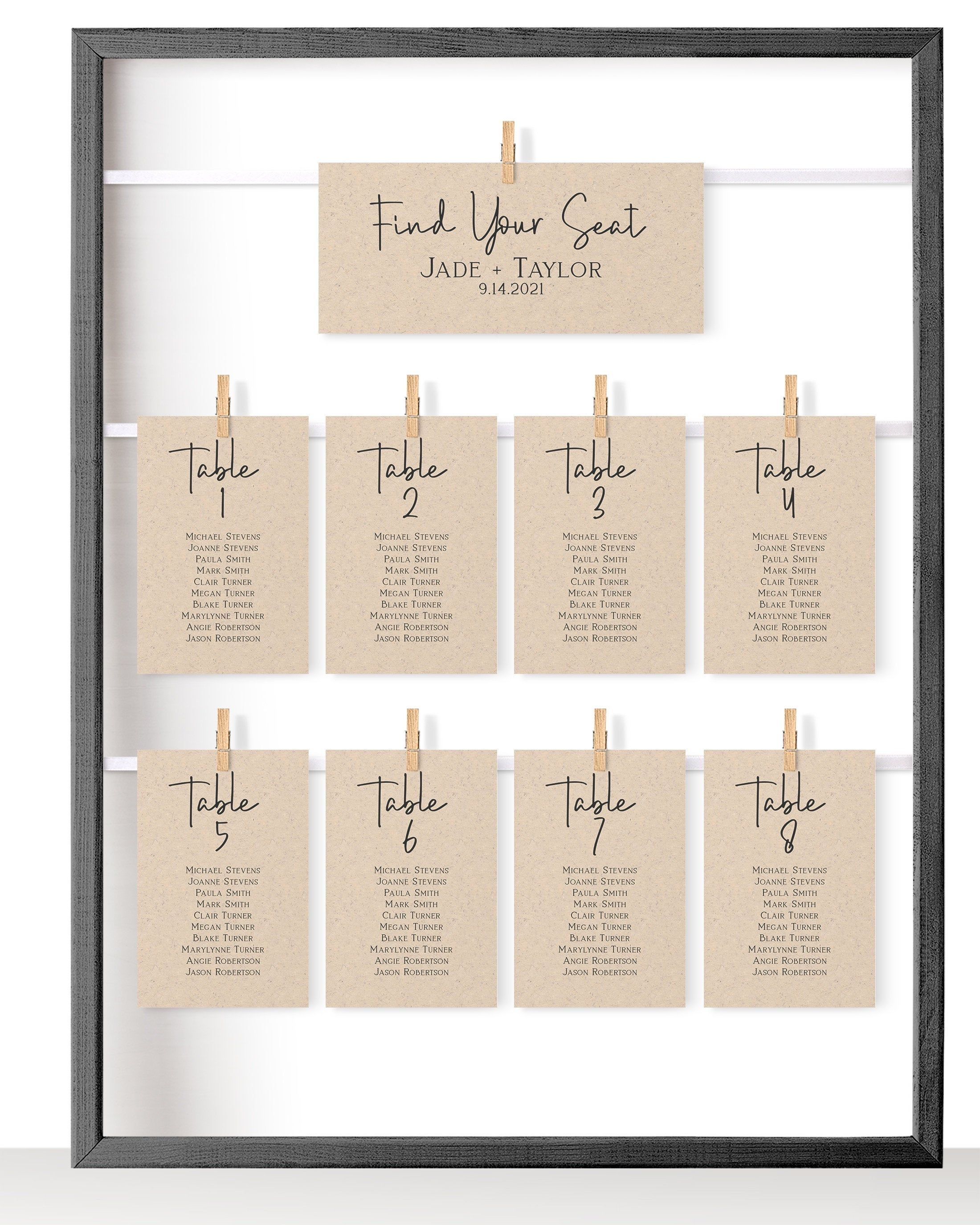 Wedding Seating Table Card, Seating Chart, Rustic Table