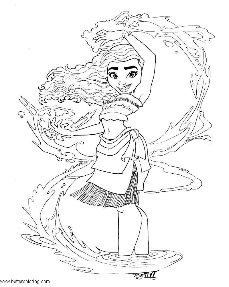 Картинка для раскраски моана