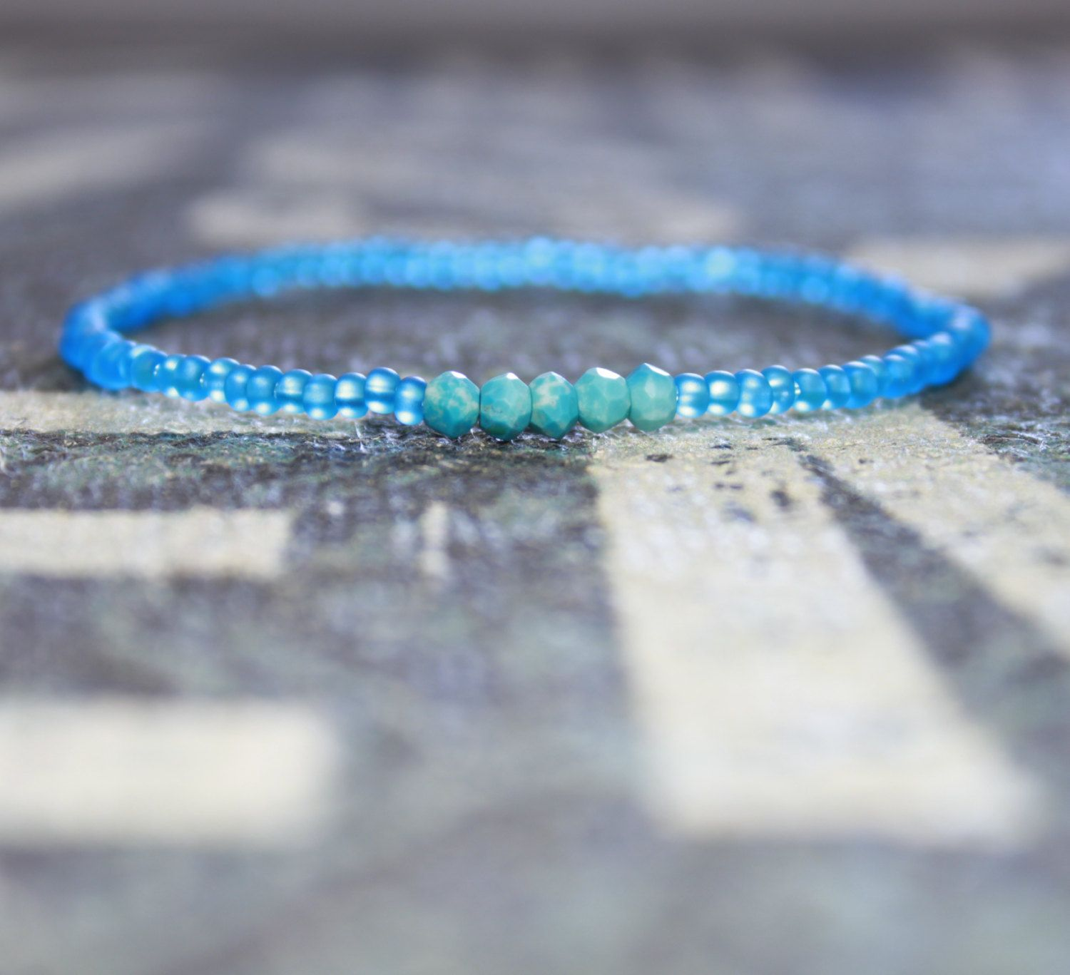 Men's Neon Blue Bracelet With Turquoise And Neon Blue Seed Beads, Mens Bead  Bracelet,