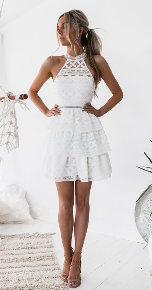 A Line Jewel Above Knee White Tiered Lace Homecoming Dress