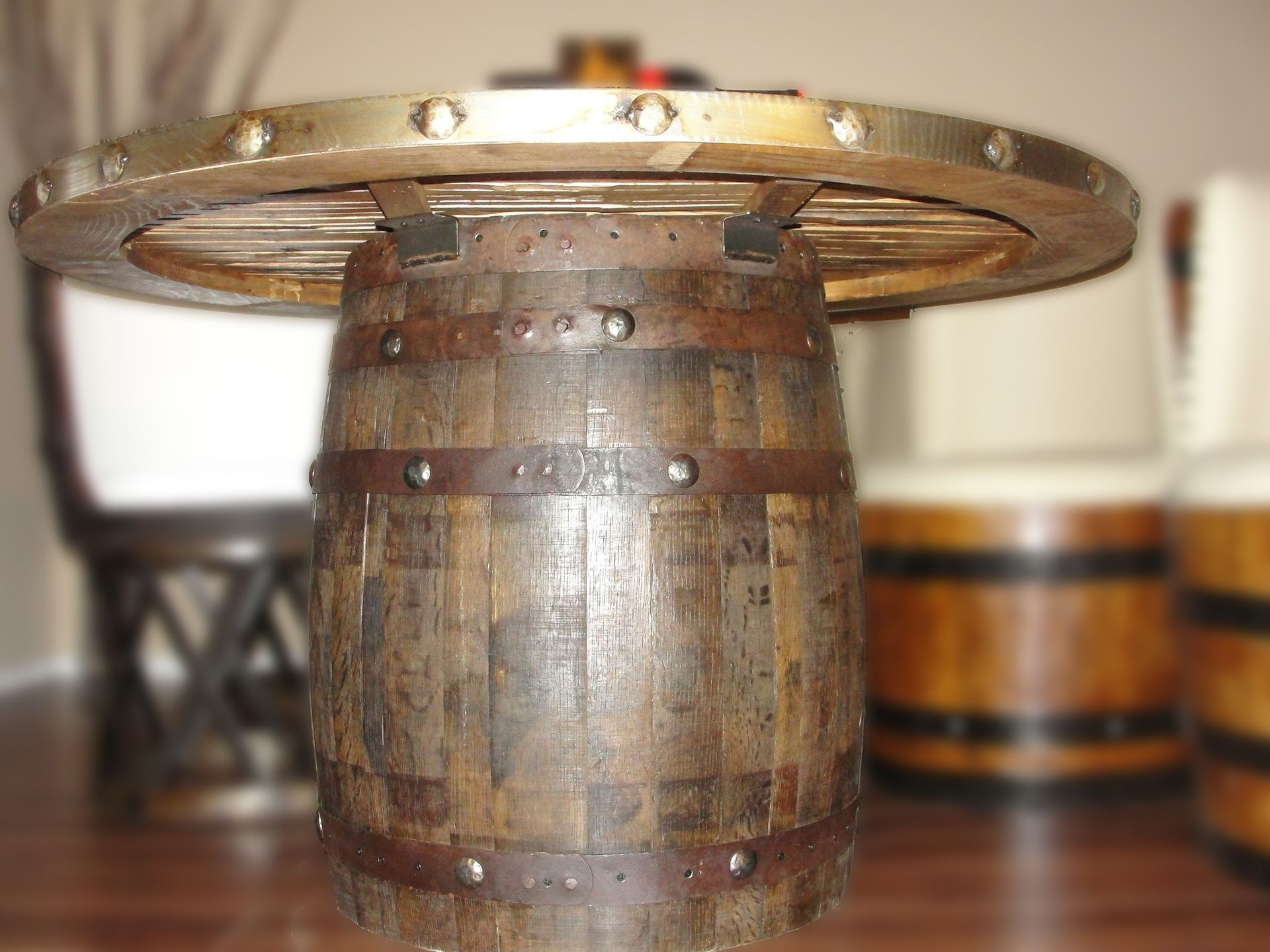 Dining Barrel Table With Table Top Made With Barrel Staves