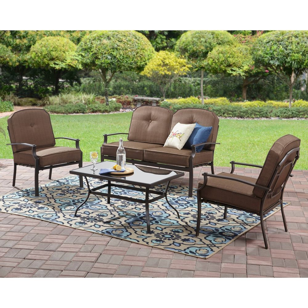 4 piece outdoor patio conversation set 4 seats garden loveseat furniture brown mainstays