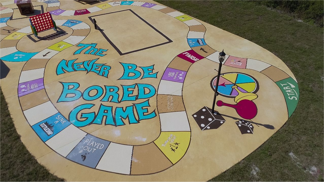 Giant outdoor concrete board game at Florida rental house