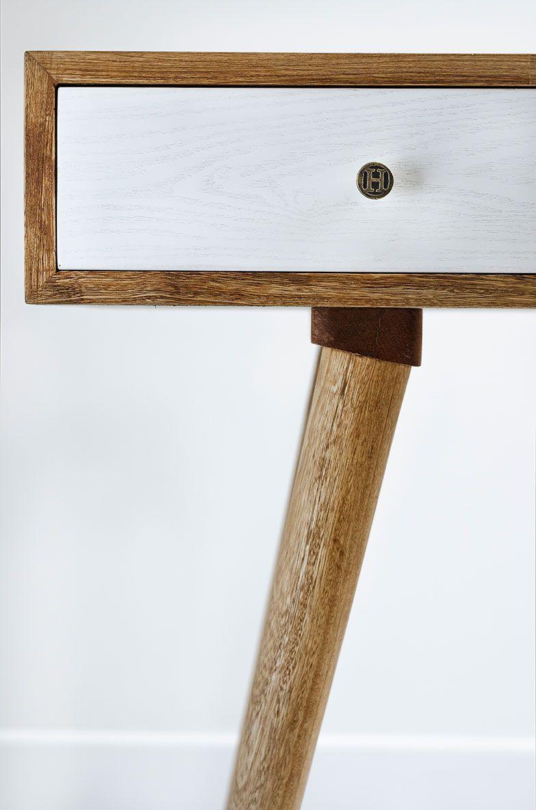 Escritorio fabricado en madera maciza de Roble, patas de madera ...