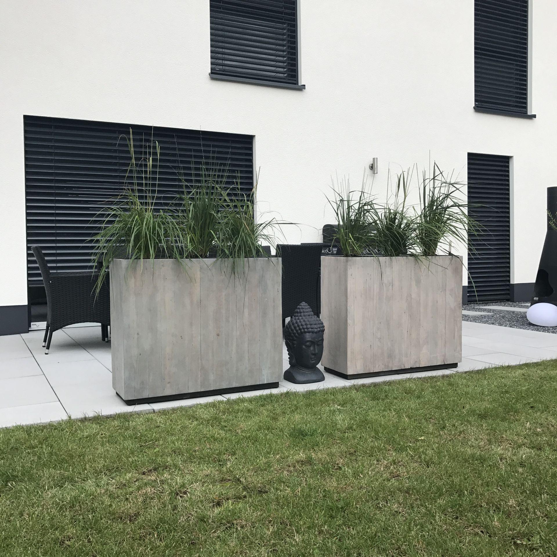 Pflanzkubel Raumteiler Recycling Holz Elemento Antik Weiss