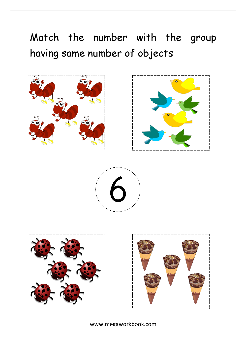 Math Worksheet Match Number With Same Number Of Objects