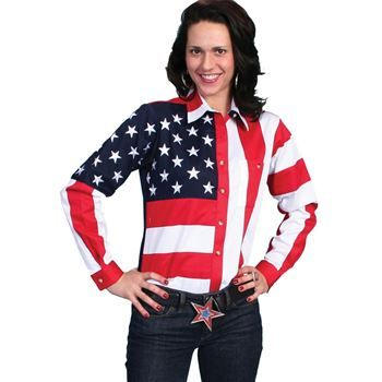 Ladies USA Embroidered Stars /& Stripes Western Apparel Cowboy //Girl Rodeo Shirt
