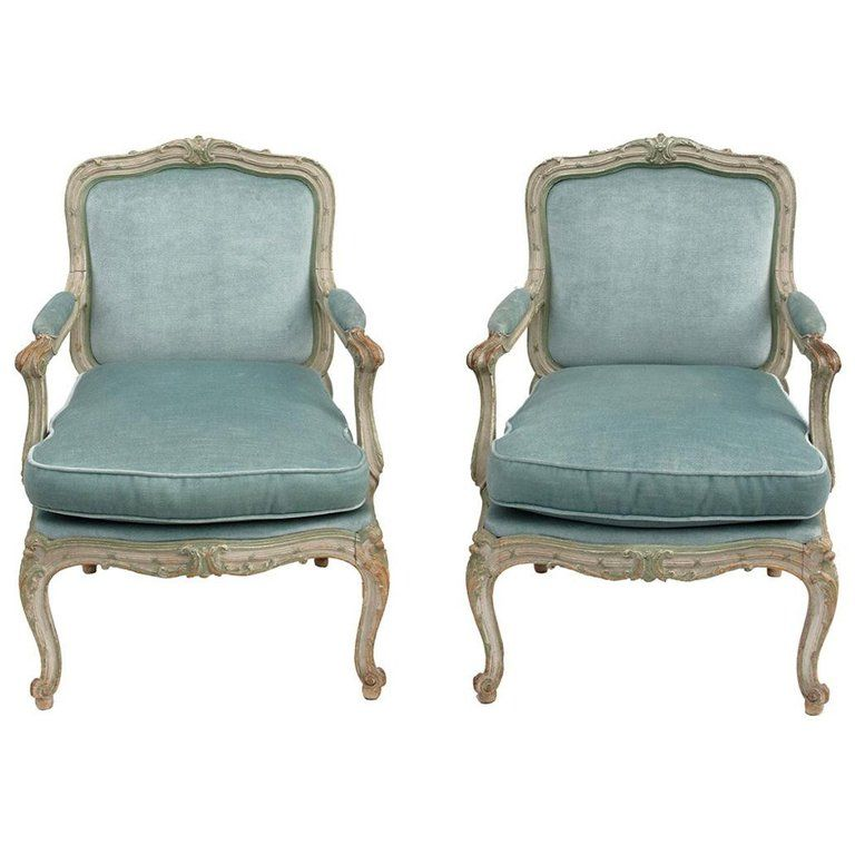 Pair Of Louis Xv Style Armchairs A Chassis Blue Velvet 1900 Period In 2020 Louis Xv Style Armchairs Victorian Sofa Linen Armchair