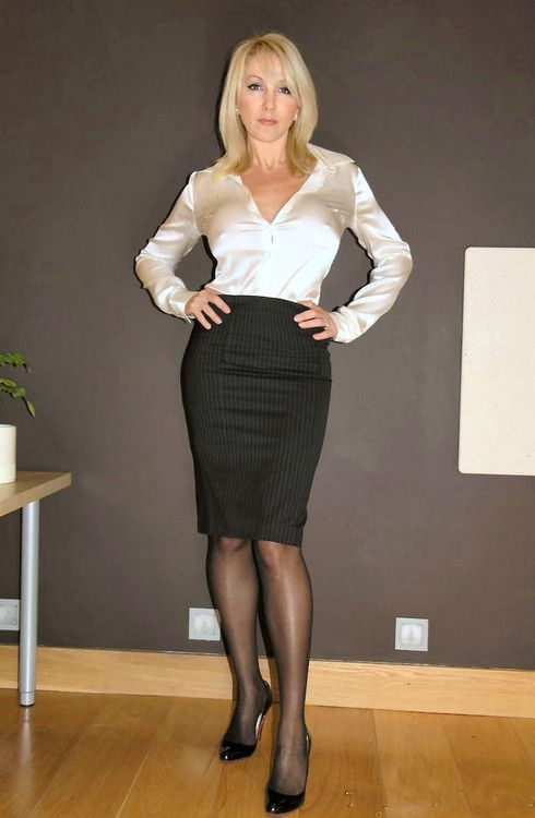Hot Office Babes  Photo | Business outfits | Pinterest | Satin blouses Black pencil skirts and ...