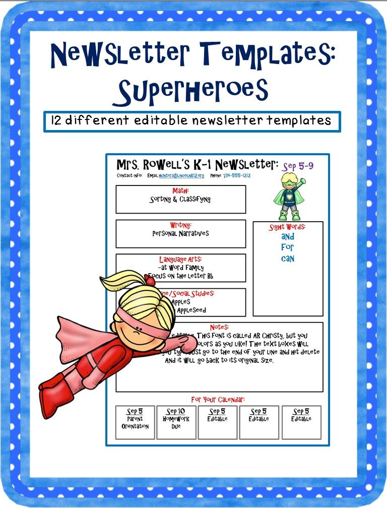 Editable newsletter template - Superhero themed Classroom - classroom calendar template