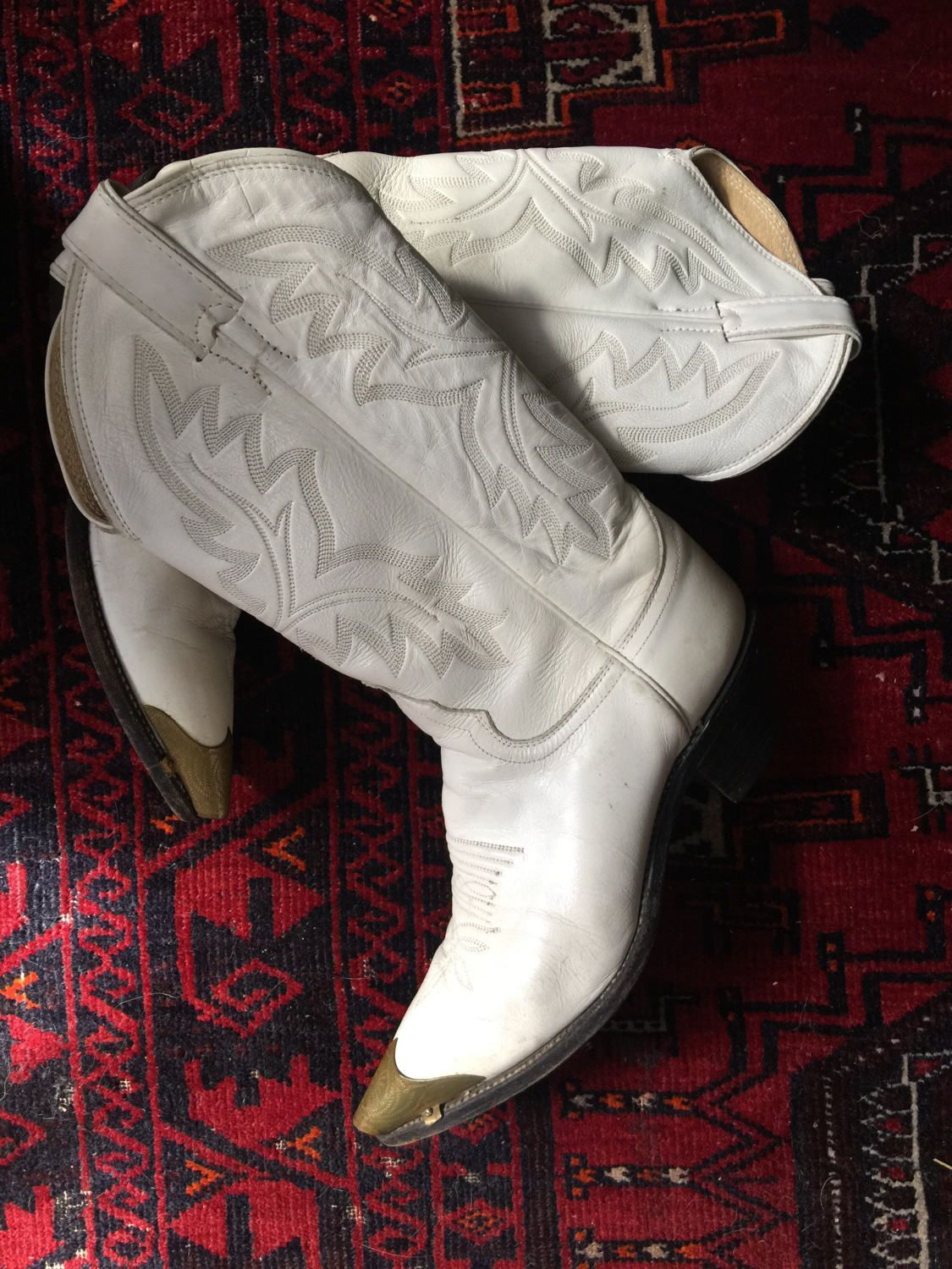 2dea879b495 Vintage 'Justin' White Cowboy Boot With Brass Tip Toe | Cuban Heel ...