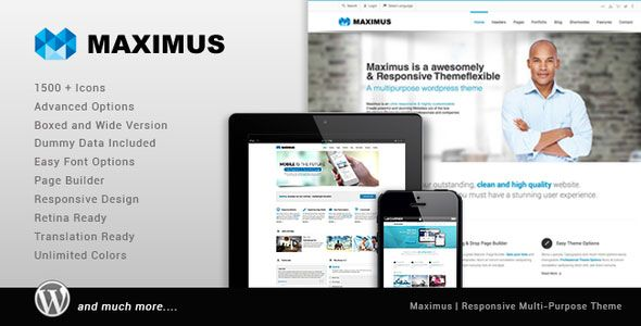 Maximus – Themeforest Responsive Multi-Purpose #Theme. Maximus is a responsive #WordPress Theme (try resizing your browser), suited for business websites and users who want to showcase their work on a neat portfolio site. The Theme is built with KODDE Framework V2 with a lot of new options and Page Builder V2 with drag and drop and resizable blocks.