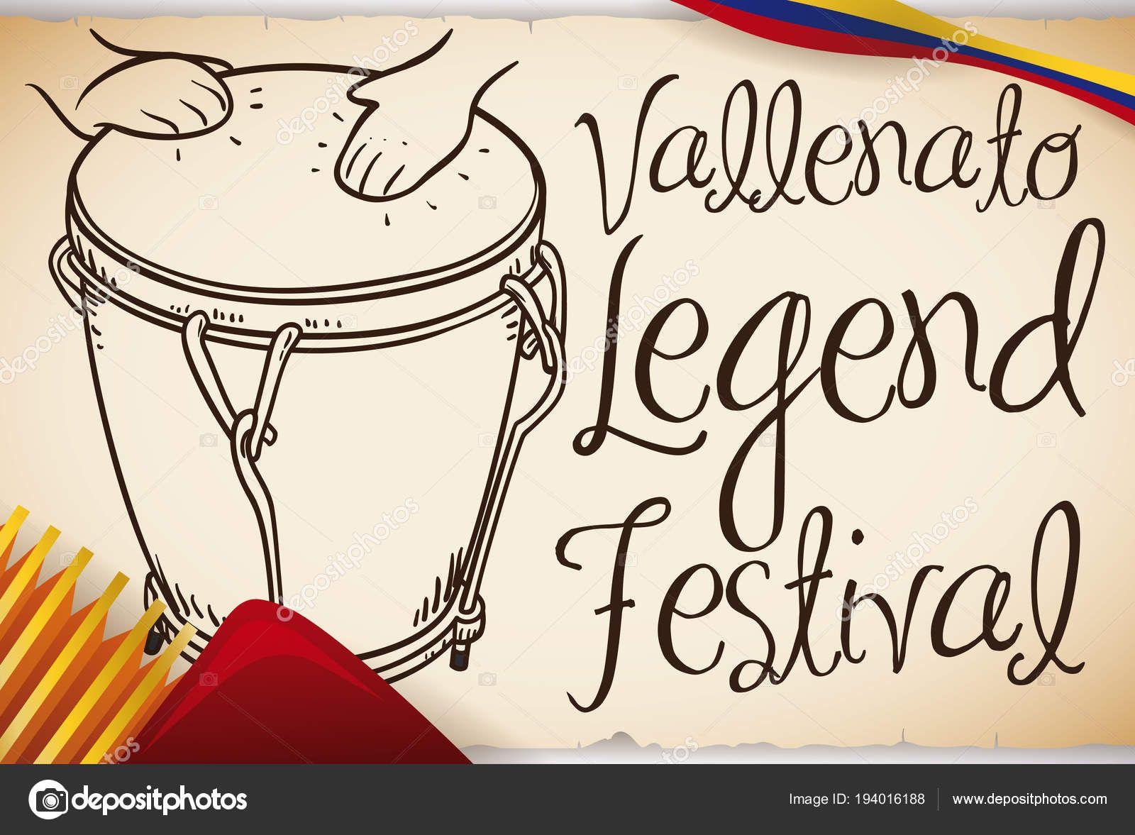 Mano Dibujada Caja Vallenata Con Acordeon Para Festival De La Leyenda Vallenata