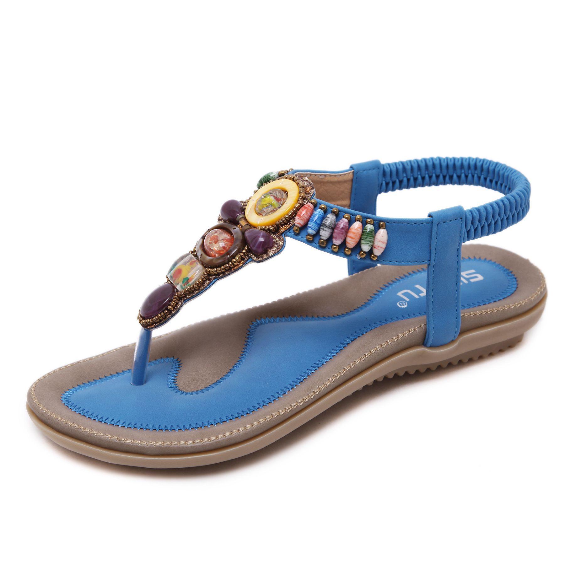 Women Bohemian Sandals Flat Flip Flops Clip Toe Summer Gladiator Beach Shoes New