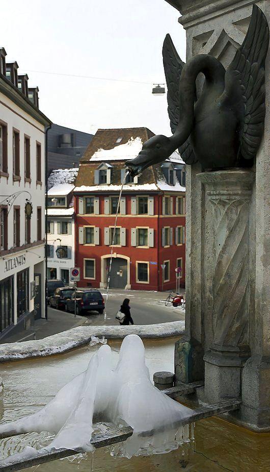 Frozen Elisabethen Brunnen Fountain Basel Switzerland By