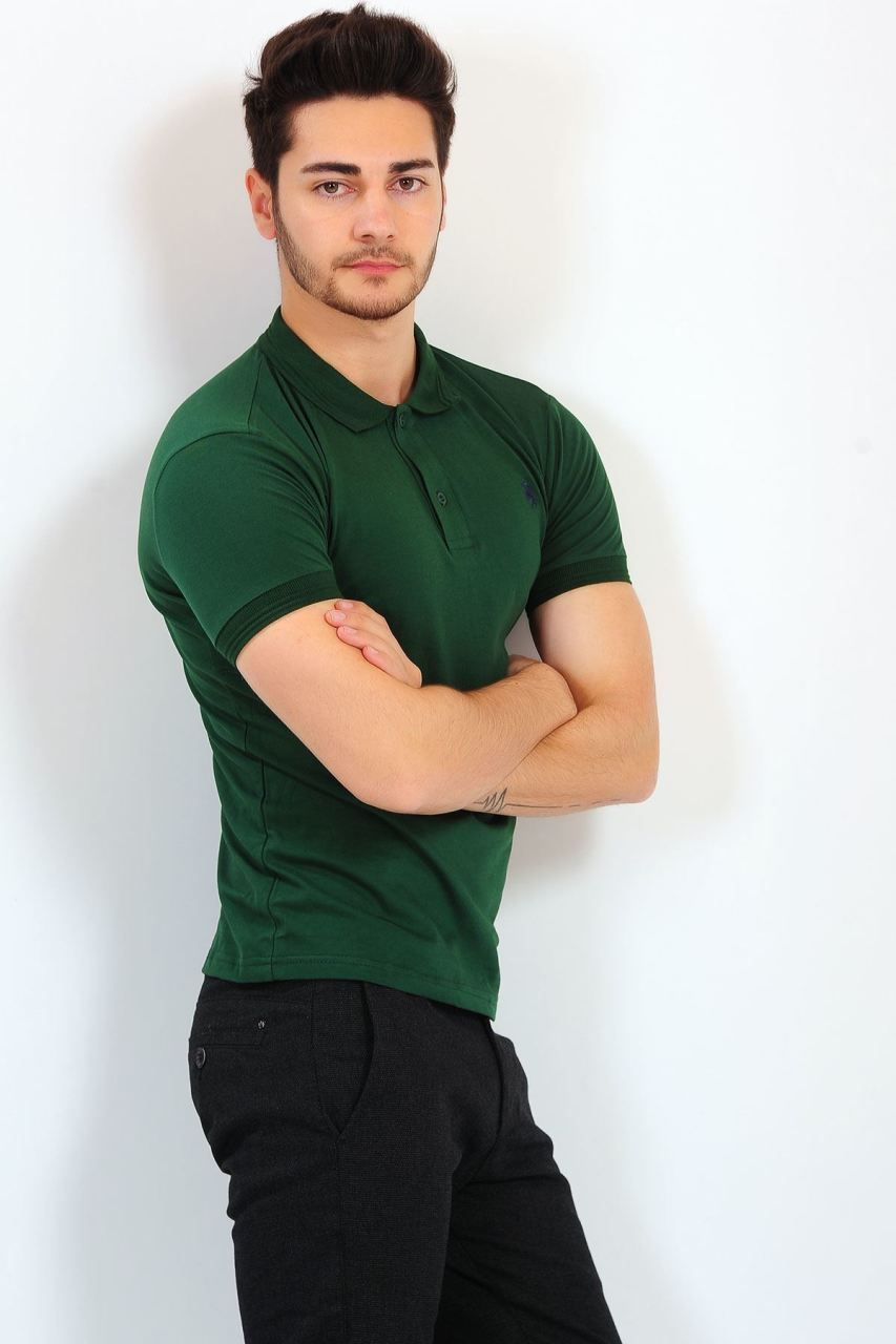 Polo Yaka Yesil Basic T Shirt Erkek Tisort Polo Moda