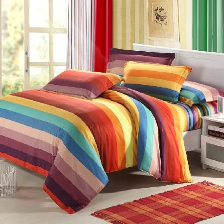 Orange Yellow And Blue Bright Multi Colored Rainbow Stripes Full Queen Size Bedding Sets Bedding Sets Bed Bedroom
