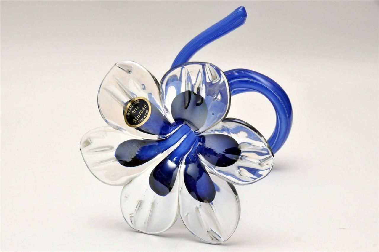 Vintage Murano Hand Blown Lavorazione Art Glass Flower Bud Vase Italy Blue Picclick Com Glass Flowers Glass Art Hand Blown