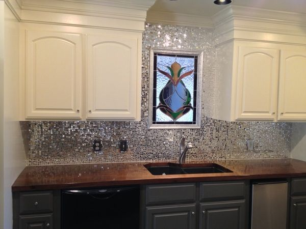 SILVER MIRROR WATERGLASS glass mosaic tiles