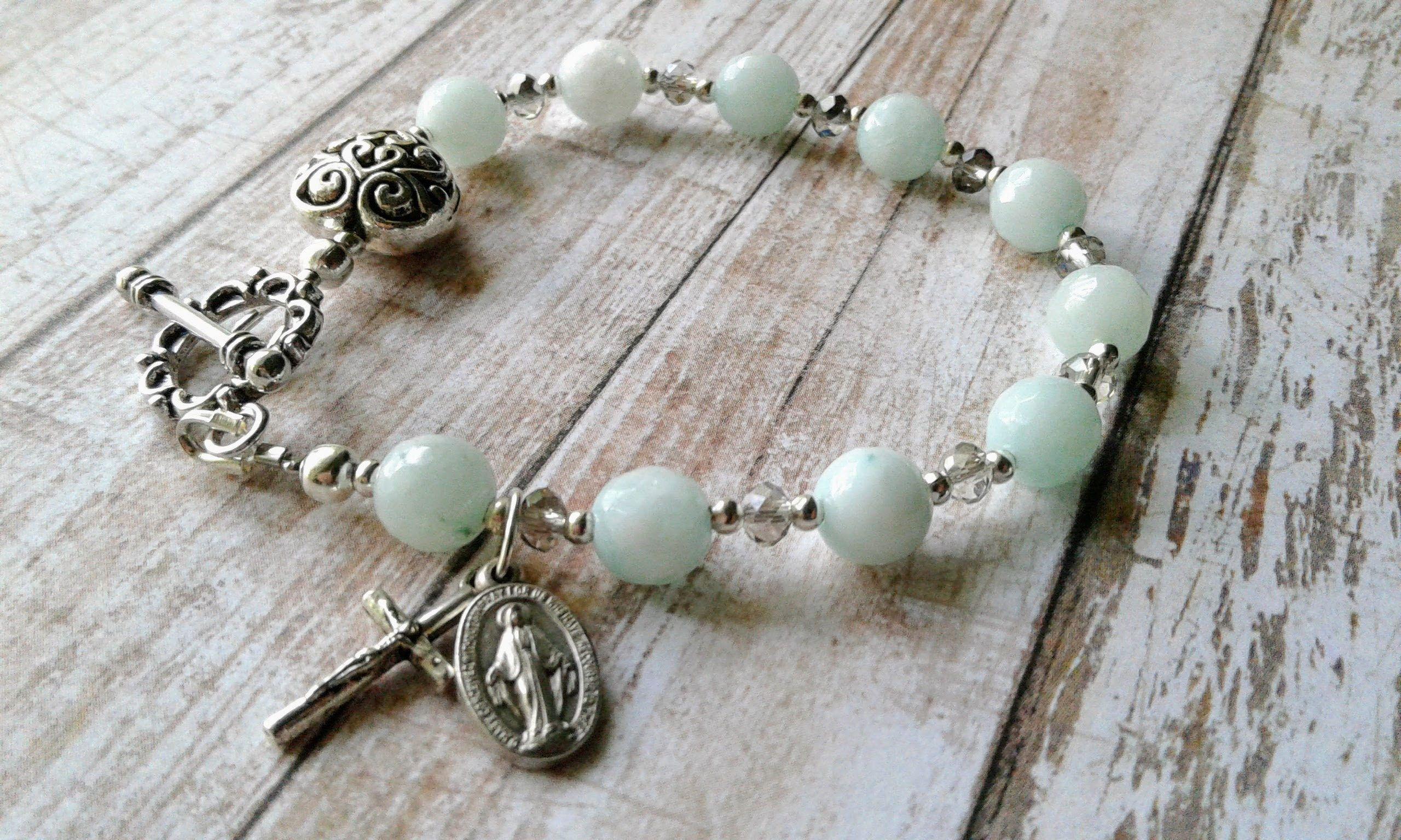 Faceted amazonite gemstone prayer bracelet miraculous medal