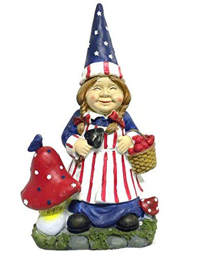 Mrs Gnome Patriotic Garden Statues Whimsical Yard Lawn Flower Bed Sculpture  Accent ...