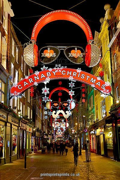 Print Of Christmas Lights And Decorations In London England London Christmas Christmas Lights London
