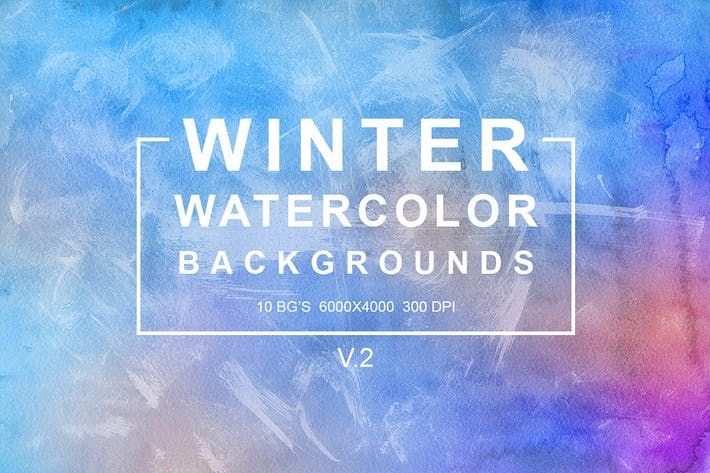 Winter Watercolor Backgrounds Vol 2 By Freezeronmedia On