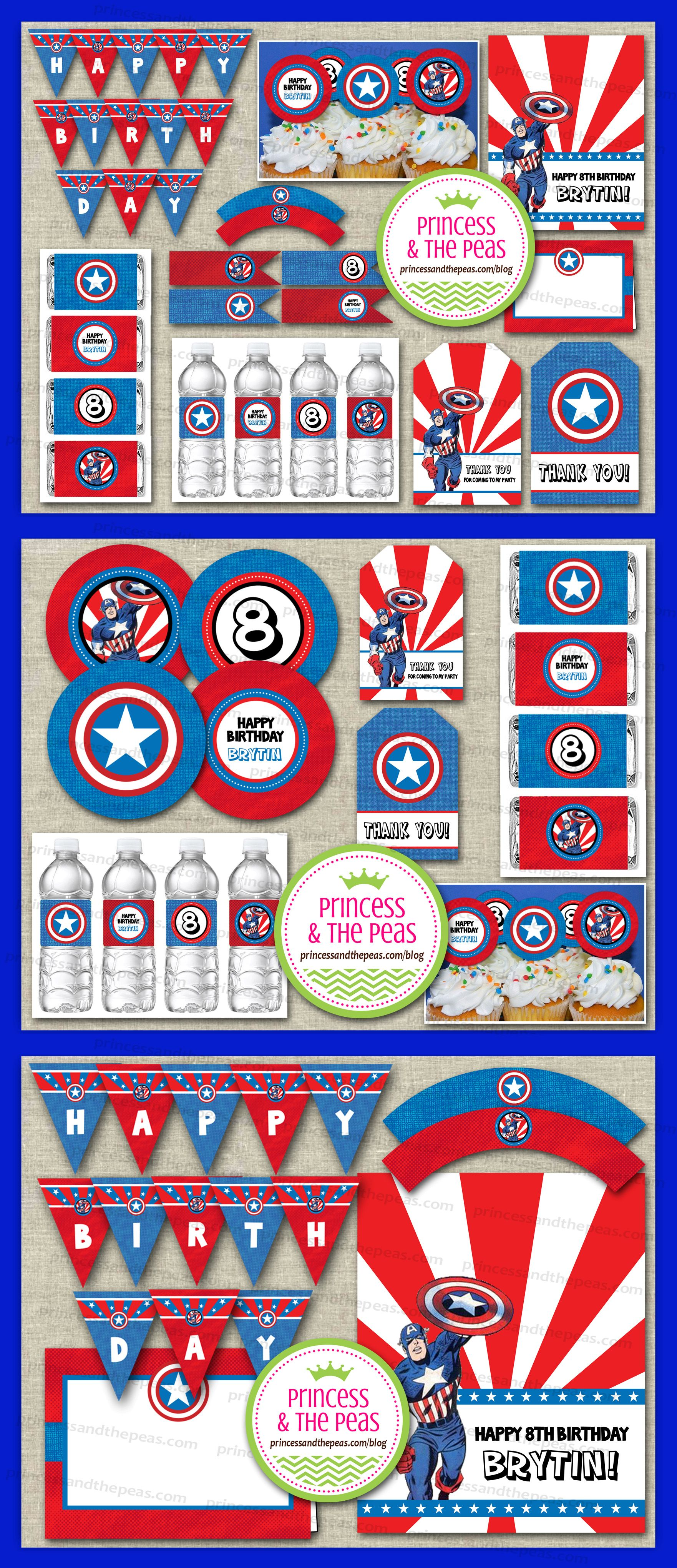 captain america party printables for my kids pinterest. Black Bedroom Furniture Sets. Home Design Ideas