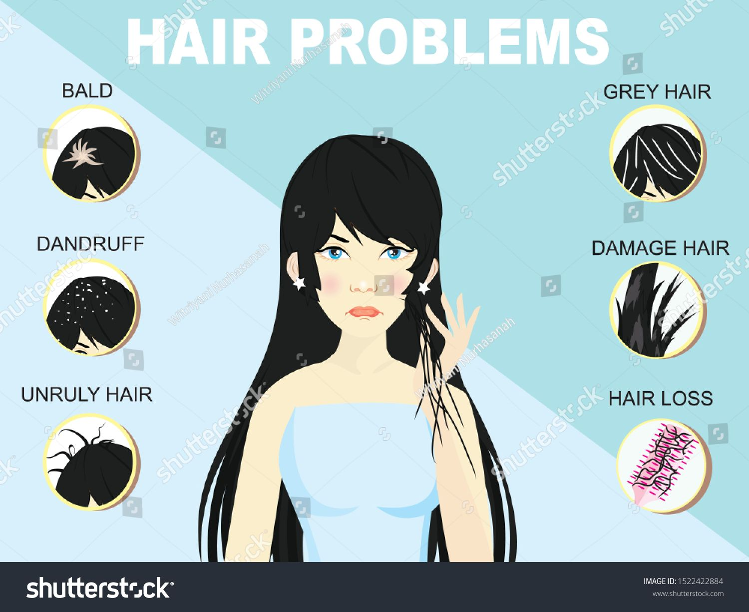 Hair Problems Illustration Woman Blue Background Stock Vector (Royalty Free) 1522422884