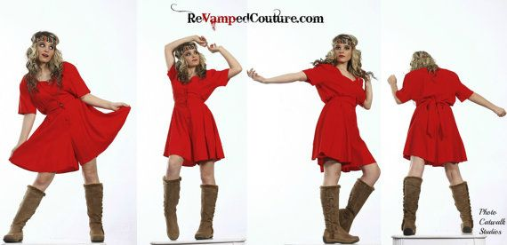 80s Vintage red short romper jumper Joule energy by revampdcouture, $25.00