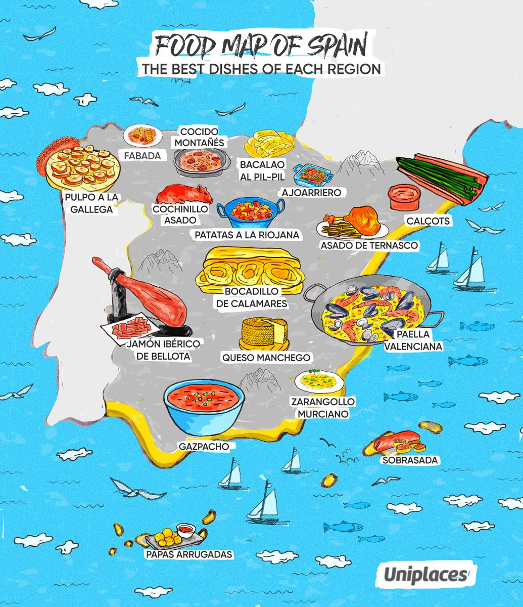 Regional Map Of Spain.Regional Food Map Infographic Of Spain Travel Map Of Spain