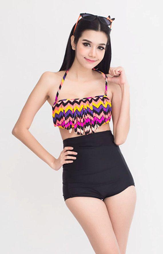 New Women Girls Summer High Waist Beach Swimming Hot Print Top Shorts Set Lots