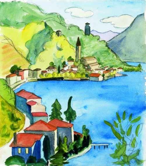 Albogasio Aquarell 07 07 1925 Wasserfarben Landschaften