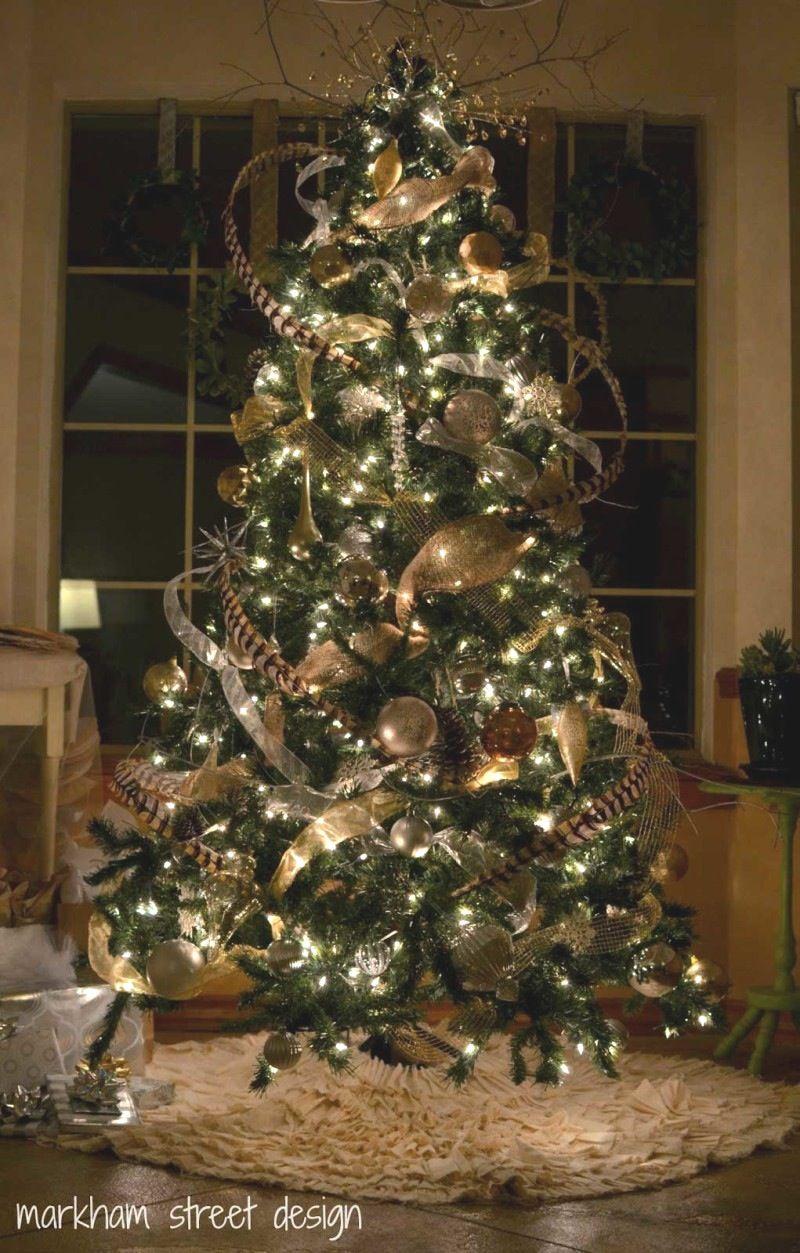 White christmas tree ball ornaments - Astonishing Design Christmas Tree Ideas Green Led Chain Lights Blue White Colors Mesh Ribbons Gold Ball