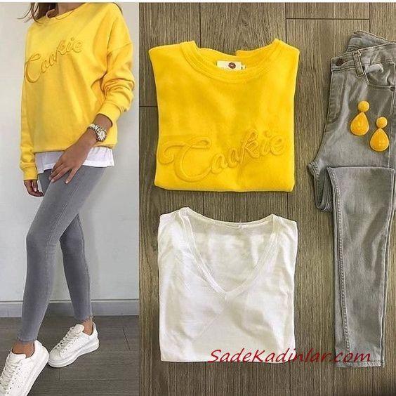 2019 Pantalon gris Combos Jean skinny gris Chemisier jaune Baskets blanches   – Kombin
