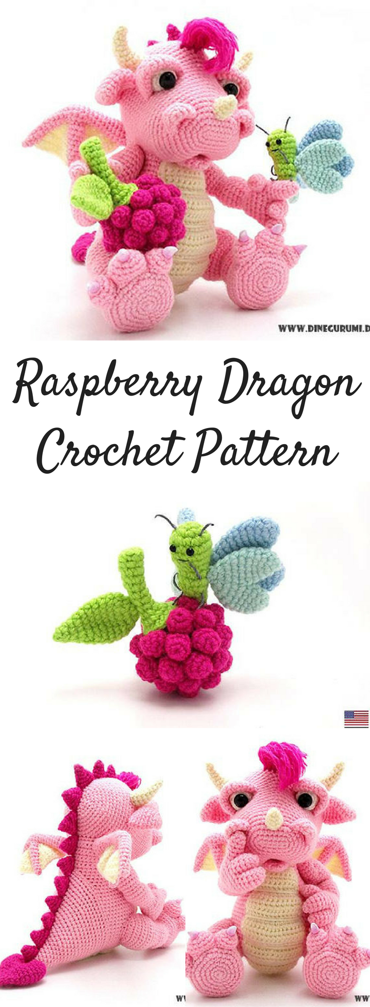 Raspberry Dragon Amigurumi Crochet Pattern Printable #ad #amigurumi ...