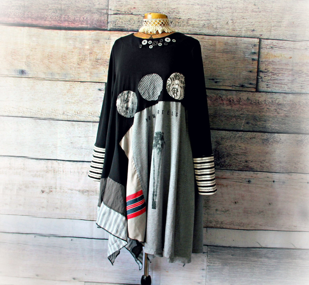 Upcycled Recycled dress Boho Lagenlook Bohemian Top Gyps Tunic Size L